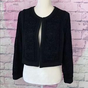 Nanette Lepore black cropped blazer velvet 8